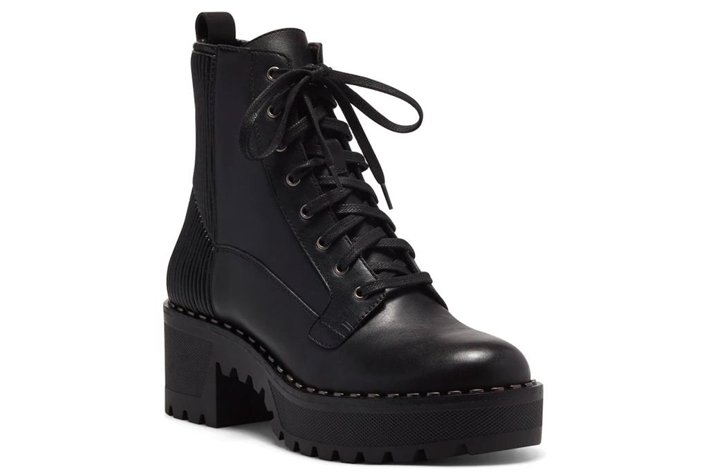 black boots, platform, combat boots, vince camuto