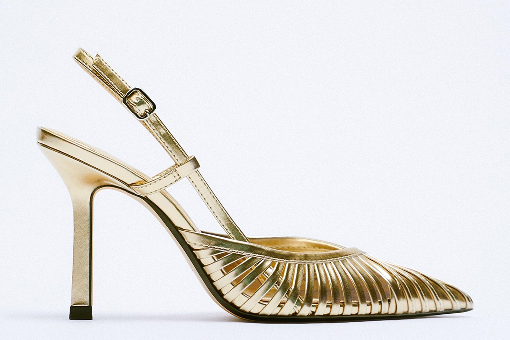 gold heels, sandals, zara