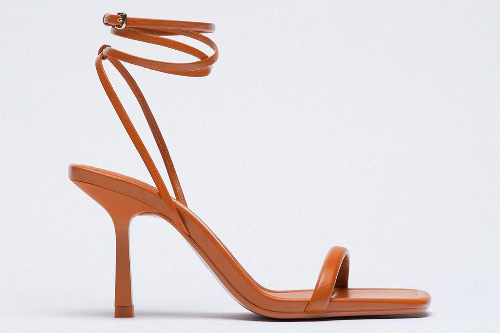 brown sandals, heels, wrap sandals, zara