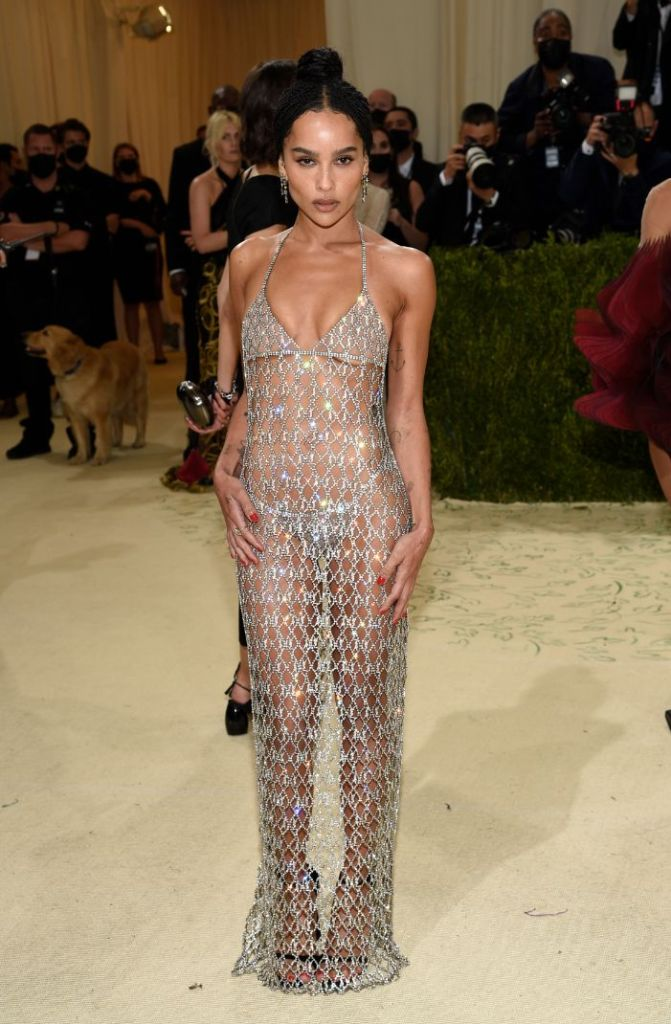 zoe kravitz, sheer dress, chain link, thong, heels, bralette, met gala, saint laurent