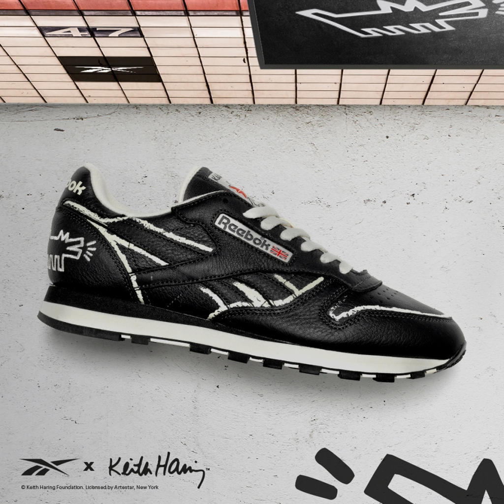 keith haring reebok collection, Classic Leather black, barking dog
