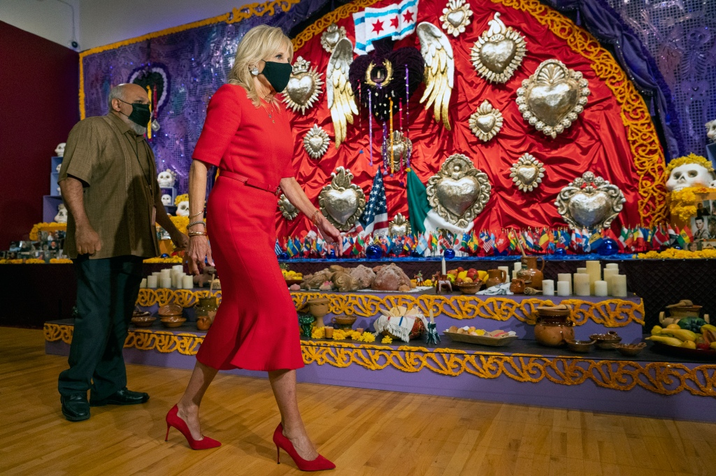 Jill Biden, Givenchy, pointed-toe pumps, red dress, National Museum of Mexican Art, Chicago, Illinois