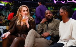 adele, lakers game, celebrities, courtside
