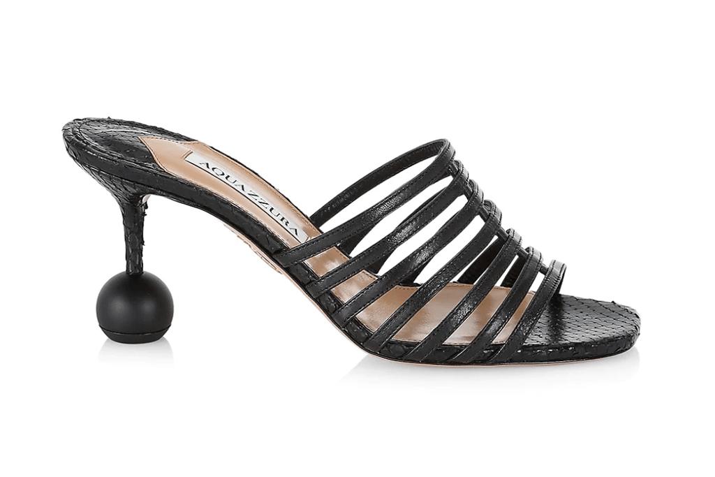 Aquazzura Le Parisien Snake-Embossed Leather Sandals