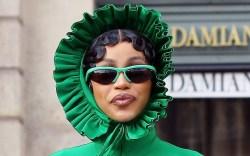 Cardi B, Paris Fashion Week, pleated