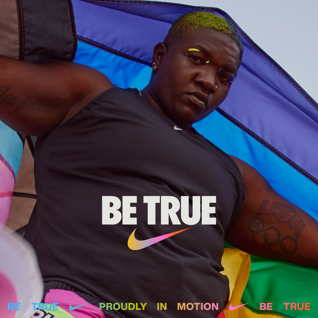 Nike, Be True, Proudly in Motion, T-shirt, sweatshirt, LGBTQIAS2+, National Coming Out Day, Raven Saunders