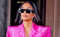Kim Kardashian, Balenciaga, pointed-toe boots, purple