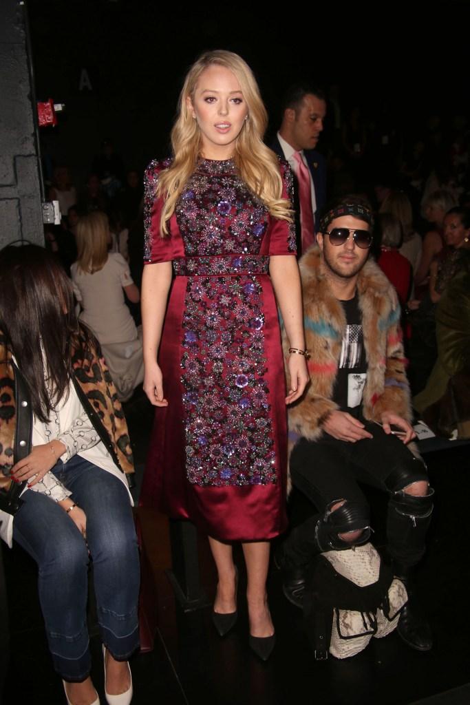 Tiffany Trump, Dennis Basso, New York Fashion Week, floral dress, black pumps, pointed-toe pumps