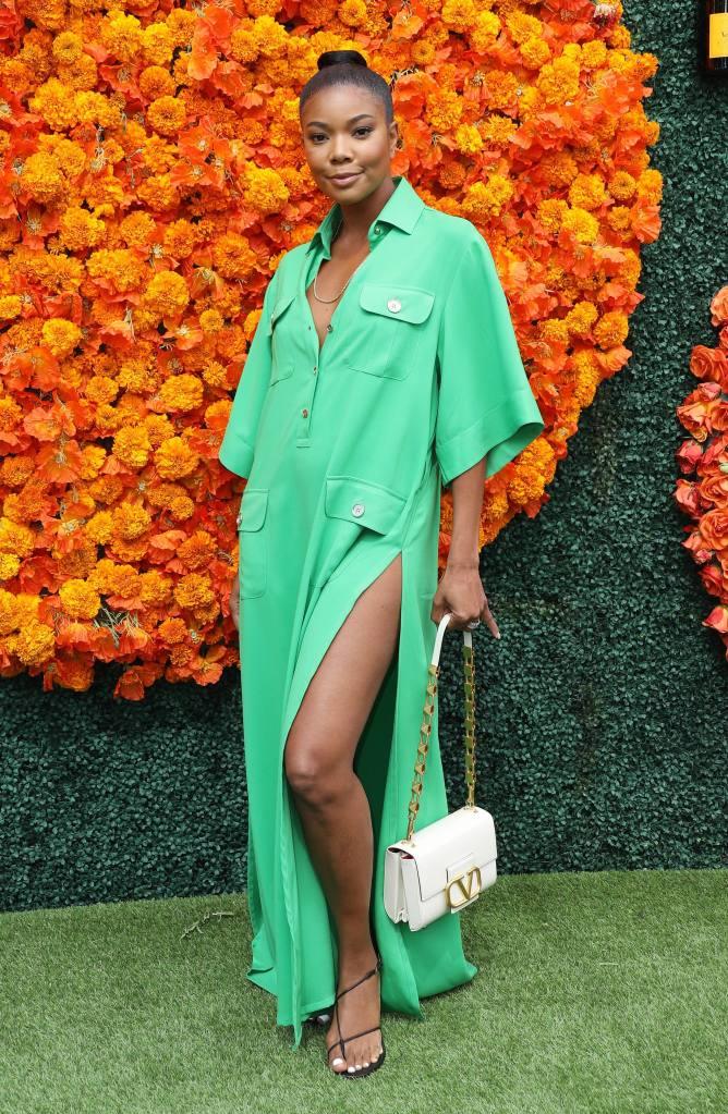 Gabrielle Union, Veuve Clicquot Polo Classic, Elie Saab, Valentino, Emme Parsons, Laura Lombardi, shirtdress, green dress, black sandals, big toe sandals