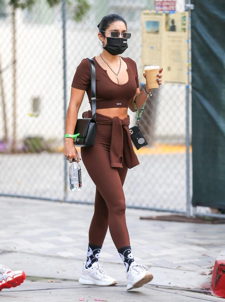 Vanessa Hudgens, LA, brown set, white sneakers, white fox crop top leggings, mercer amsterdam