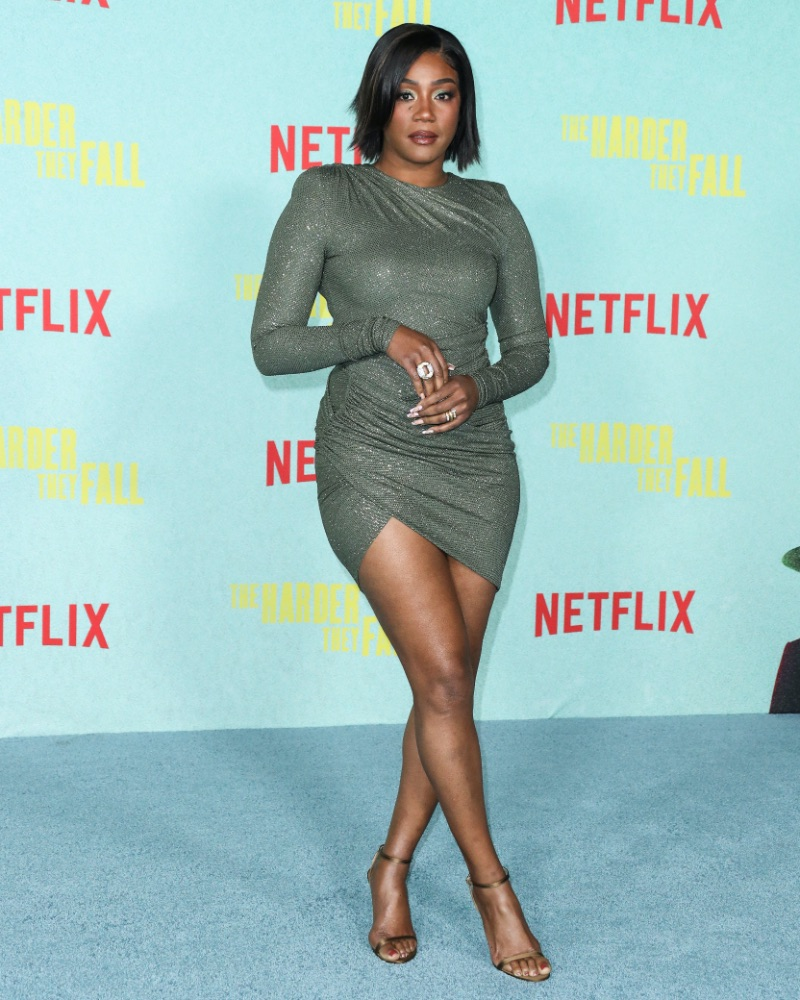 tiffany haddish, green, dress, mini dress, bronze heels, la, premiere, netflix
