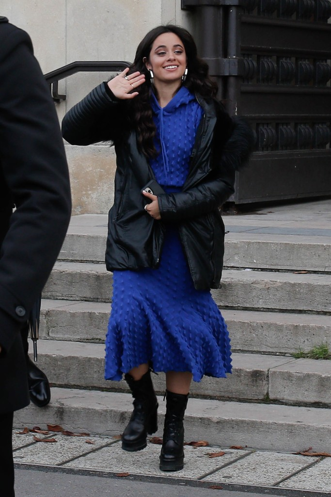 Camila Cabello, platform boots, combat boots, black boots, blue dress, hoodie, Paris Fashion Week, L'Oreal
