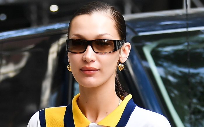 Bella Hadid Wears A Nike Pullover Shirt In New York City