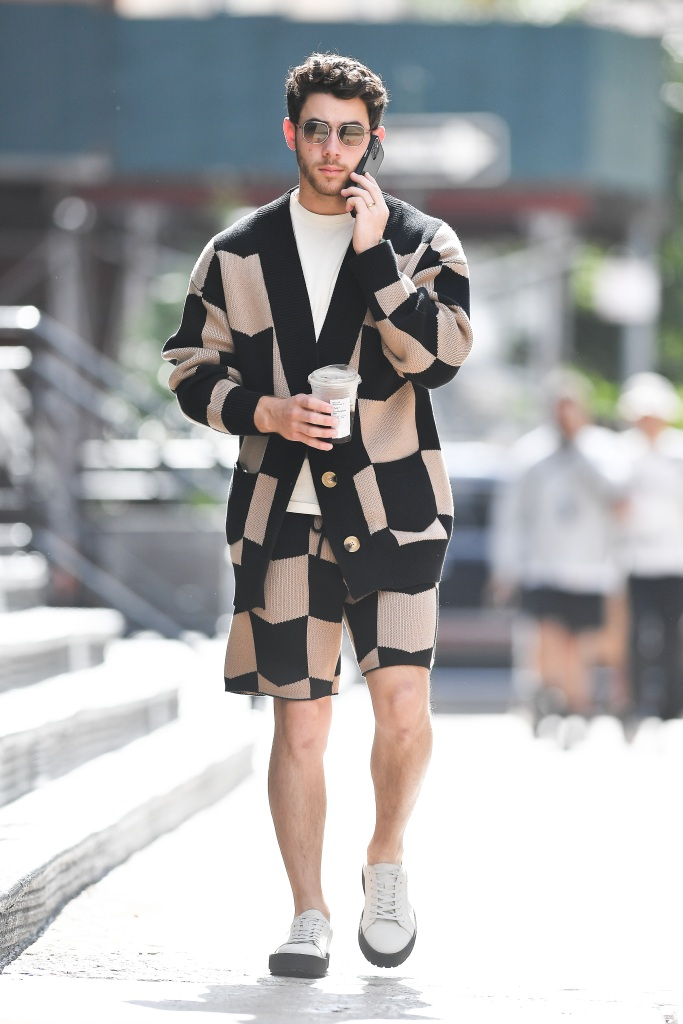Keiser Clark, vagabond shoes, Nick Jonas wears a patterned outfit while grabbing a coffee in New York CityPictured: Nick JonasRef: SPL5264467 081021 NON-EXCLUSIVEPicture by: Robert O' Neil / SplashNews.comSplash News and PicturesUSA: +1 310-525-5808London: +44 (0)20 8126 1009Berlin: +49 175 3764 166photodesk@splashnews.comWorld Rights