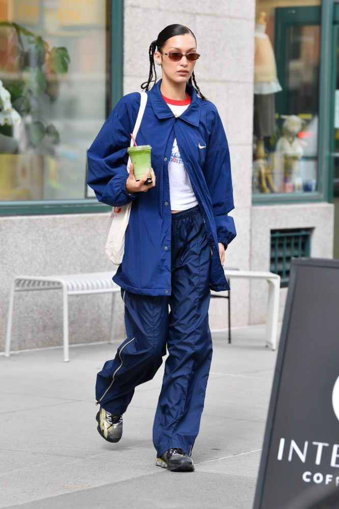 Bella hadid, nike jacket, track pants, asics sneakers, nyc
