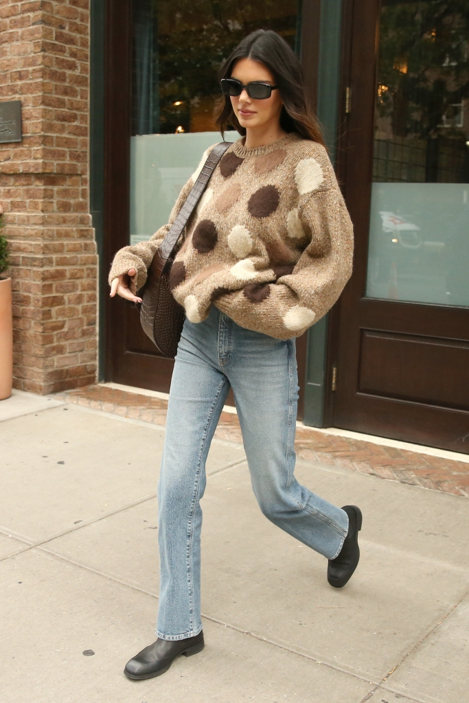 acne studios sweater, Kendall Jenner is seen in a polka dot cashmere sweater and jeans in New York CityPictured: Kendall JennerRef: SPL5265979 131021 NON-EXCLUSIVEPicture by: Christopher Peterson / SplashNews.comSplash News and PicturesUSA: +1 310-525-5808London: +44 (0)20 8126 1009Berlin: +49 175 3764 166photodesk@splashnews.comWorld Rights