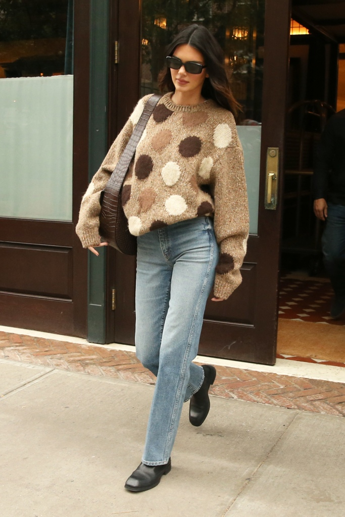 acne studios, Kendall Jenner is seen in a polka dot cashmere sweater and jeans in New York City