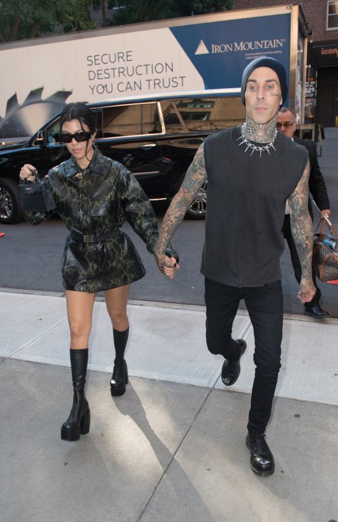 Kourtney Kardashian, platform boots, black boots, Naked Wolfe, Travis Barker, dress, Leo, Hermes, New York City