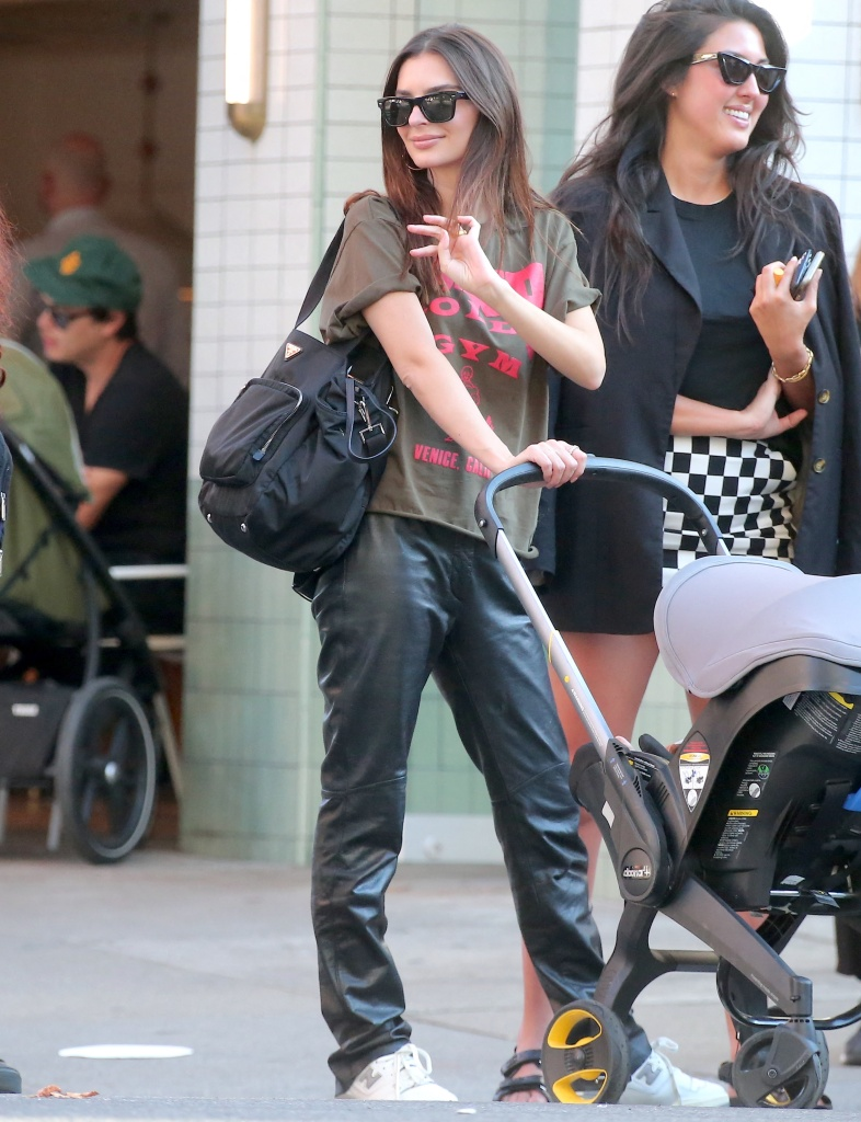 Emily Ratajkowski, New Balance, white sneakers, low-top sneakers, leather pants, Gold's Gym, New York City