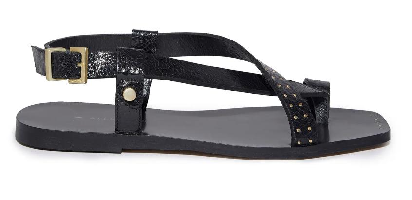 Allsaints, toe loop sandals, big toe sandals, black sandals, strappy sandals, flat sandals