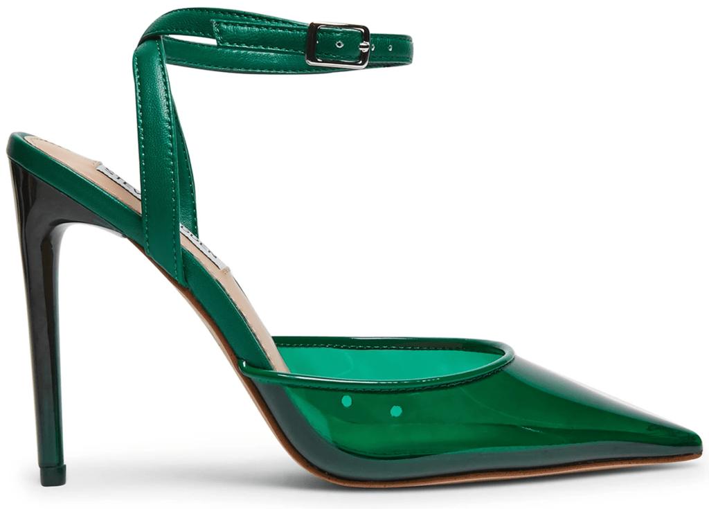 Steve Madden, pointed-toe pumps, green pumps, ankle strap pumps