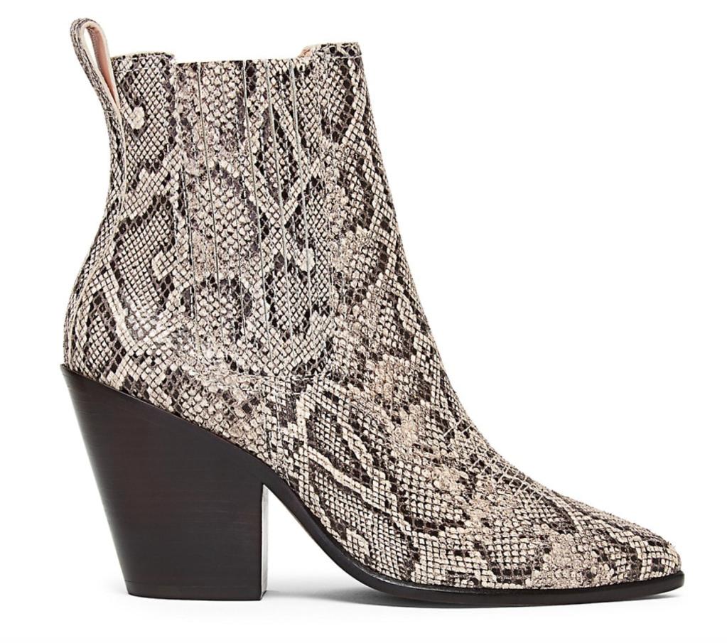 Loeffler Randall, boots, Western boots, snake boots