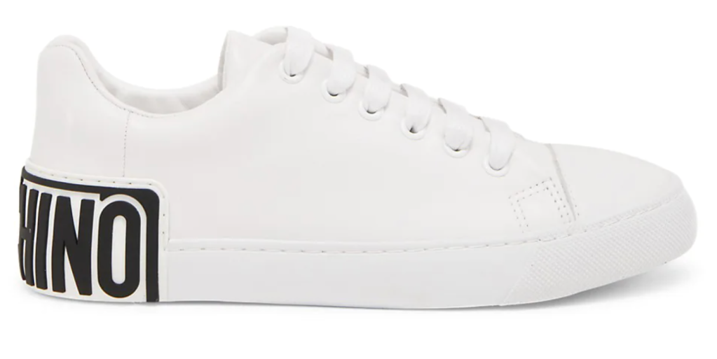 Moschino, white sneakers, low-top sneakers, lace-up sneakers