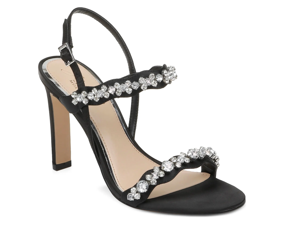 glittering sandals, black heels, badgley mischka