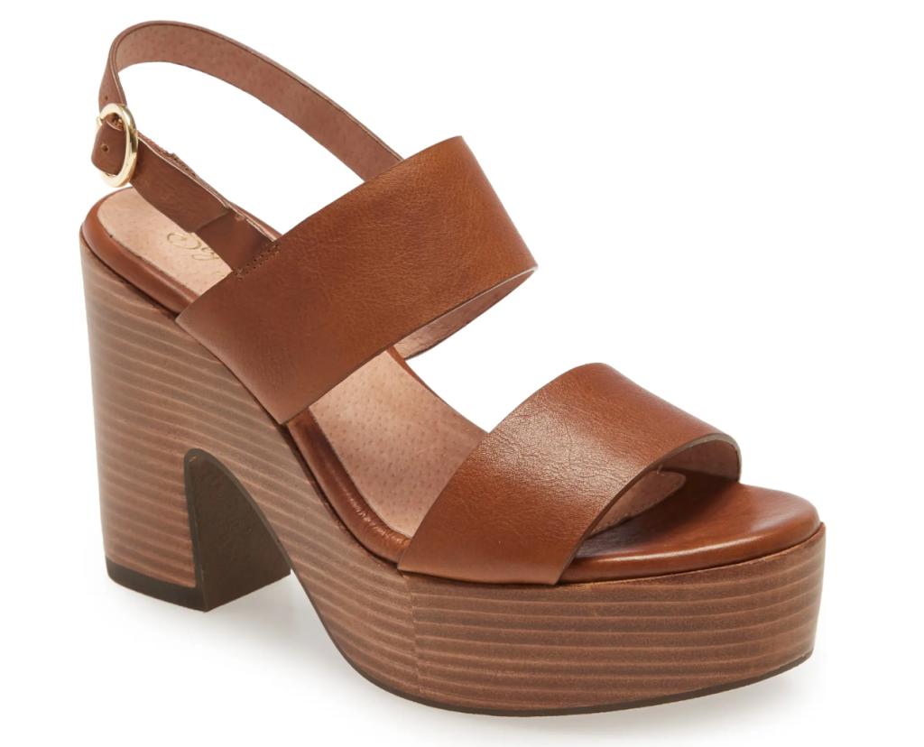 brown platform sandals, wood, block, seychelles