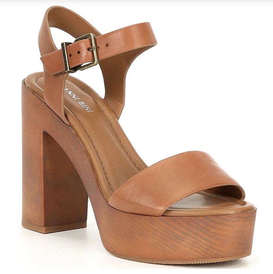 brown platform sandals, wood, block, giani bini