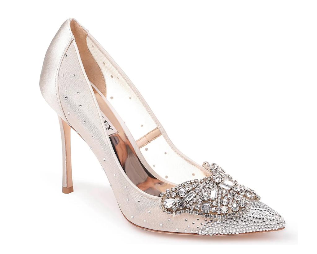 crystal heels, pumps, badgley mischka