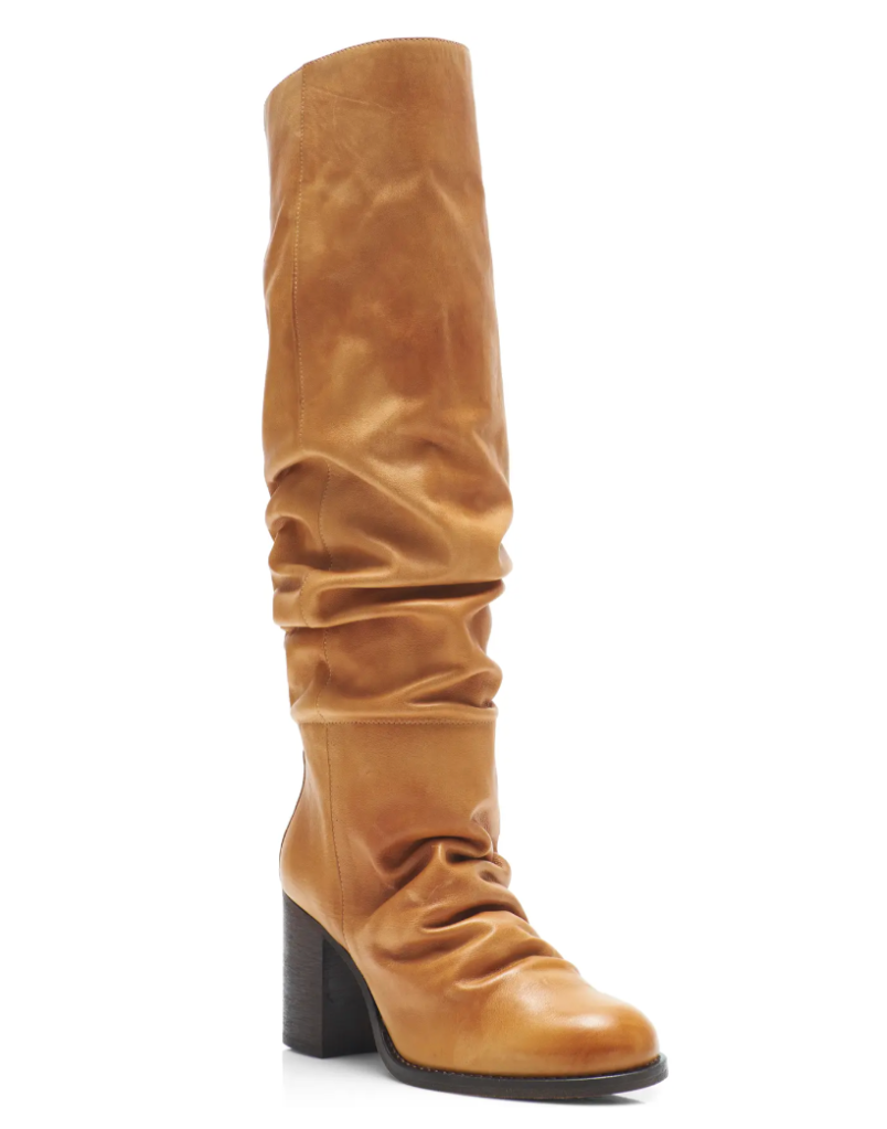 brown boots, heeled, slouchy, leather, free people