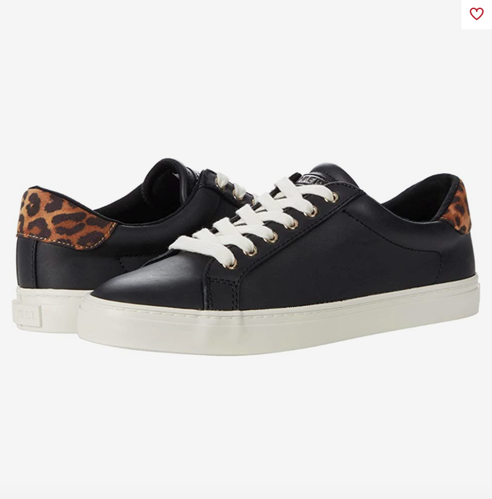 Black leather sneakers with white midsole