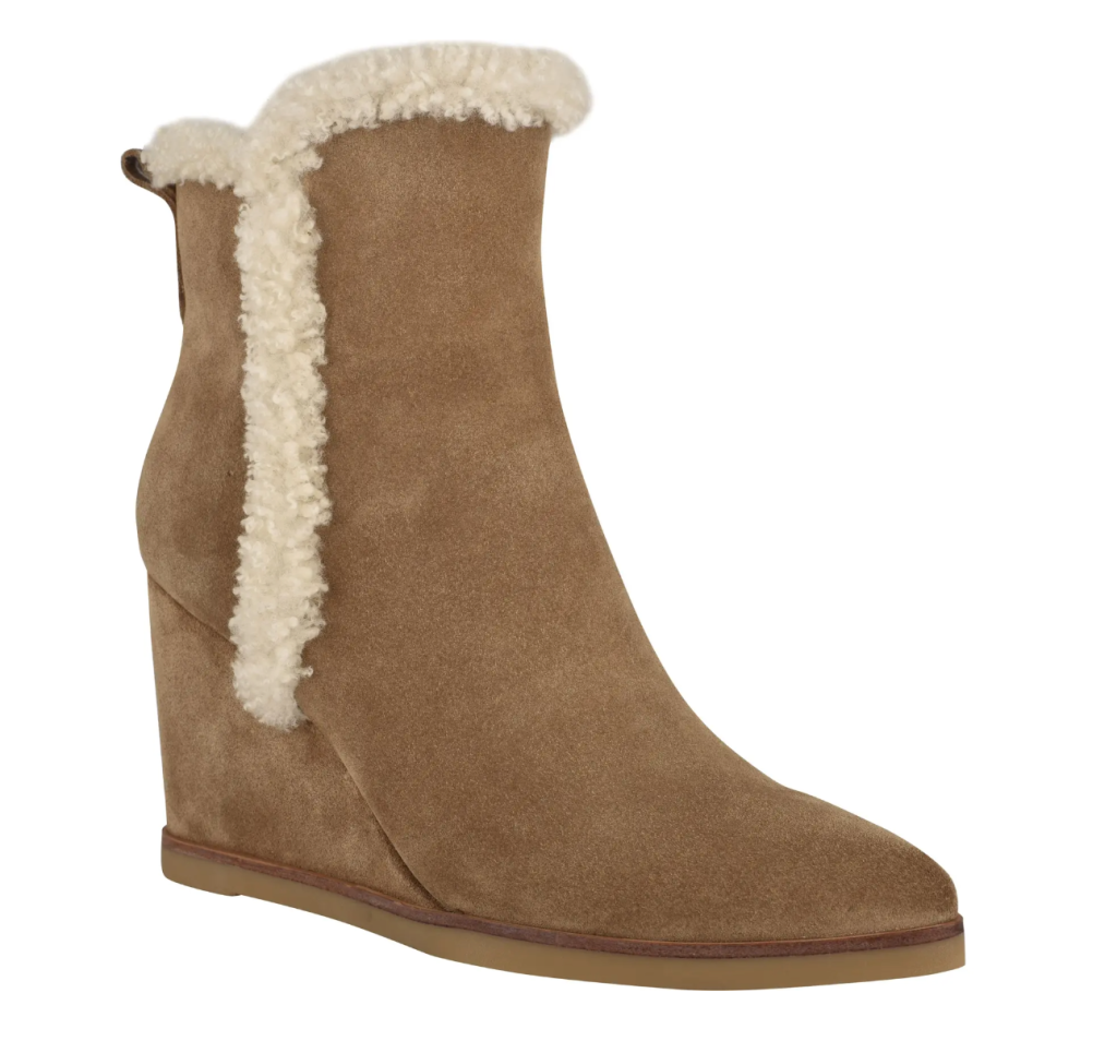 wedge boots, booties, shearling, marc fisher