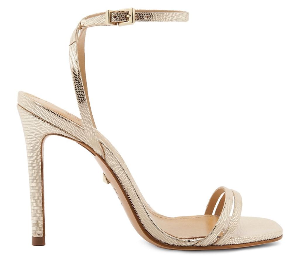 Schutz, gold sandals, heeled sandals, ankle-strap sandals, strappy sandals