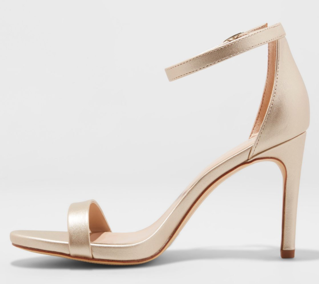 A New Day, Target, gold sandals, heeled sandals, ankle-strap sandals, strappy sandals