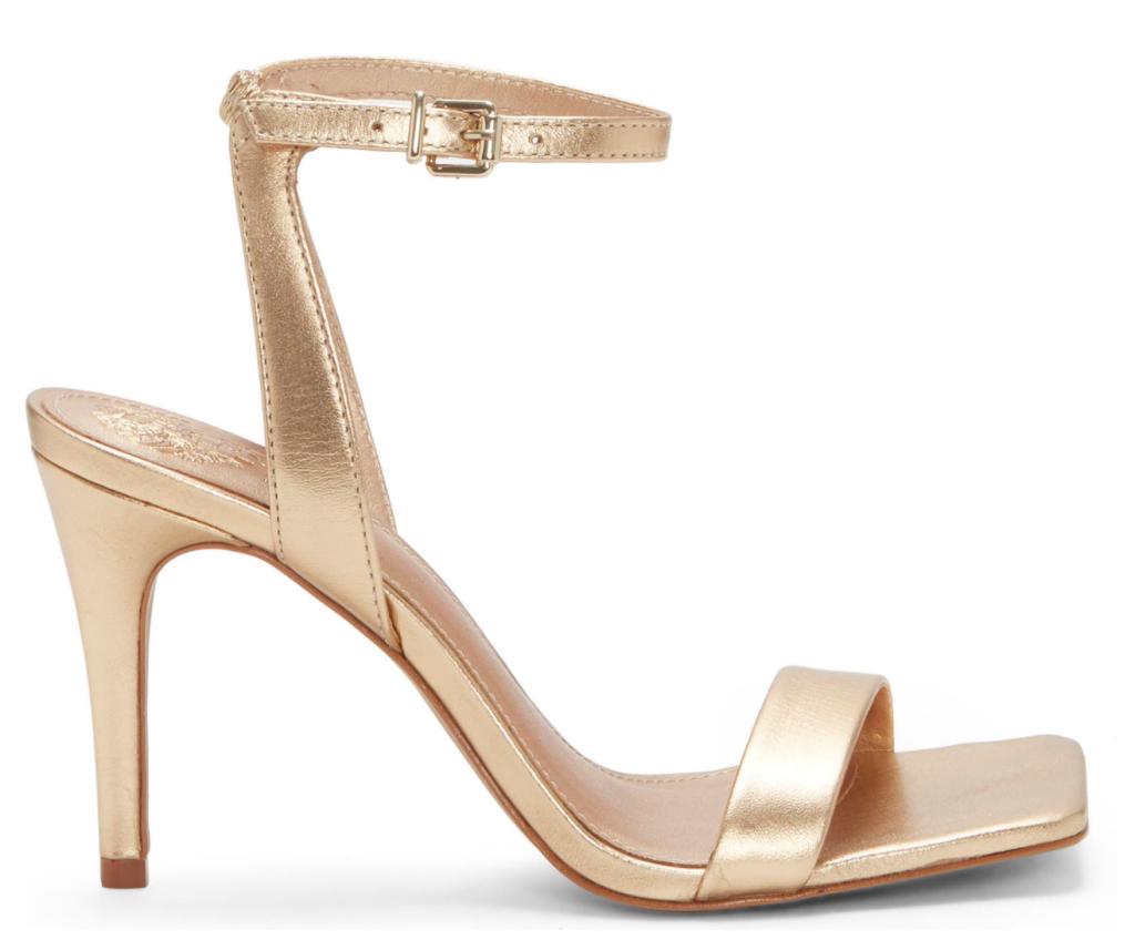 Vince Camuto, gold sandals, heeled sandals, ankle-strap sandals, strappy sandals