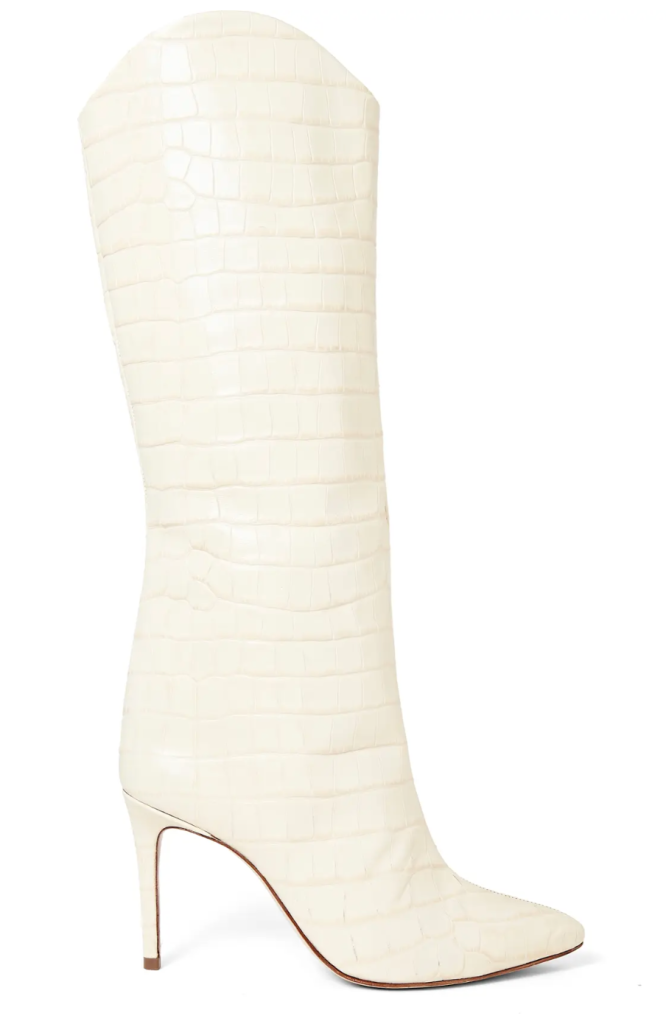 Schutz, white boots, knee-high boots, reptile boots, embossed boots, croc-embossed boots
