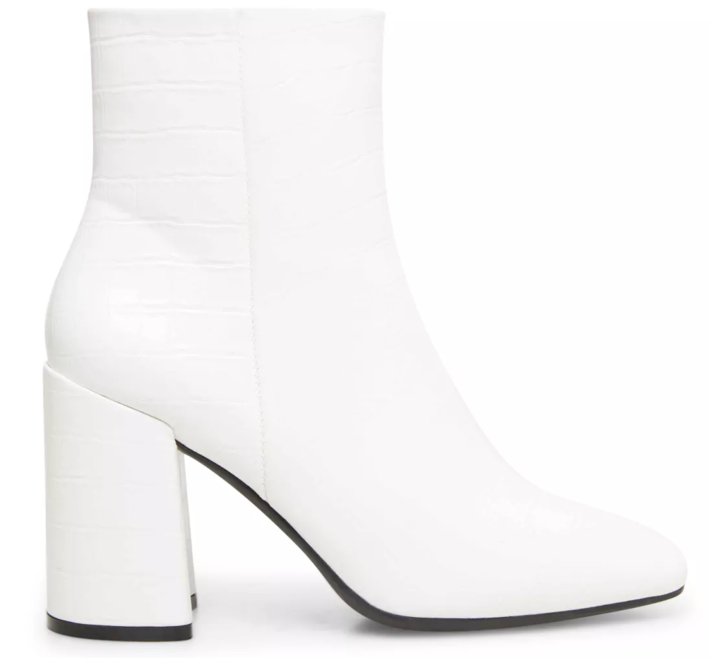 Madden Girl, white boots, ankle boots, reptile boots, embossed boots, croc-embossed boots