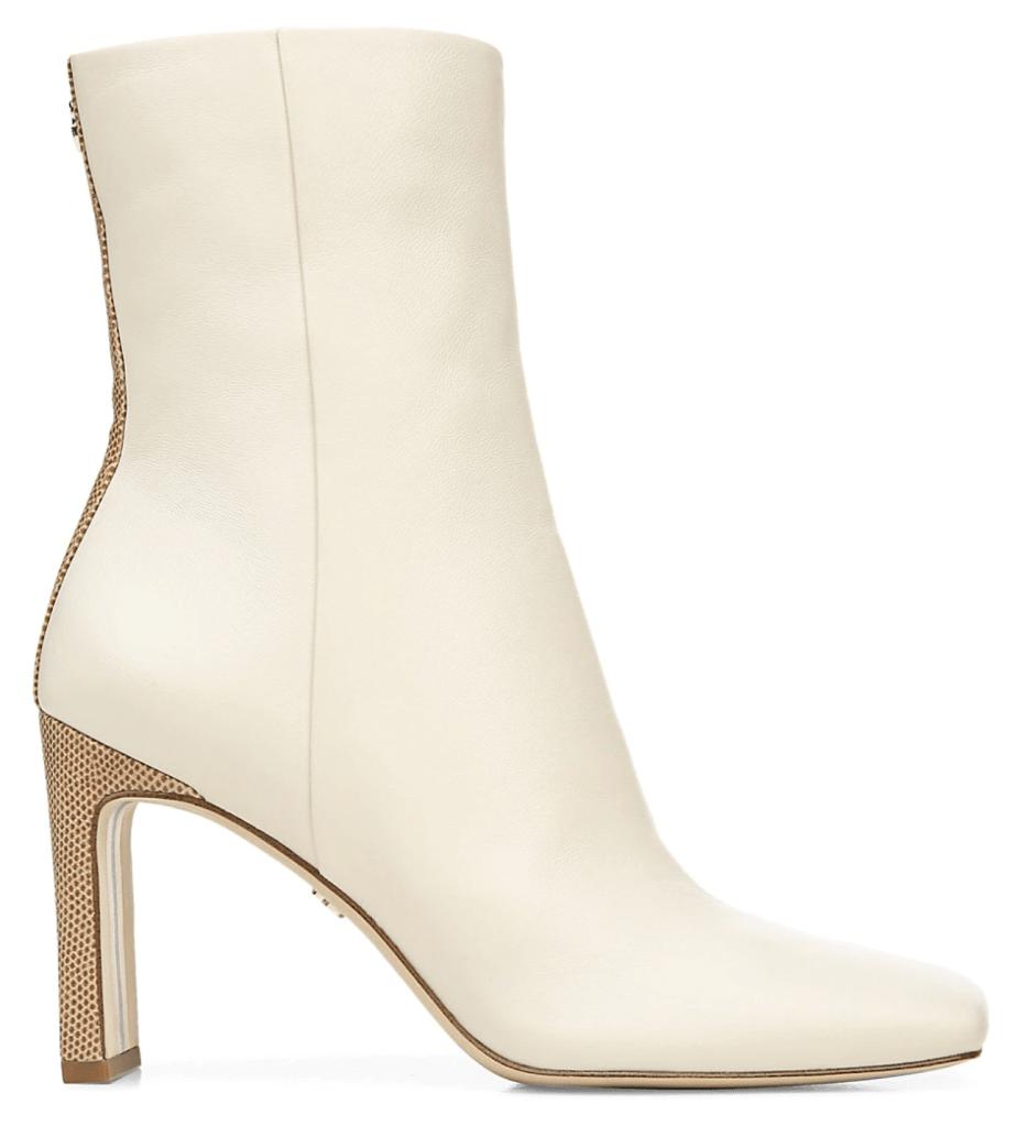Sam Edelman, white boots, ankle boots, reptile boots, embossed boots, croc-embossed boots