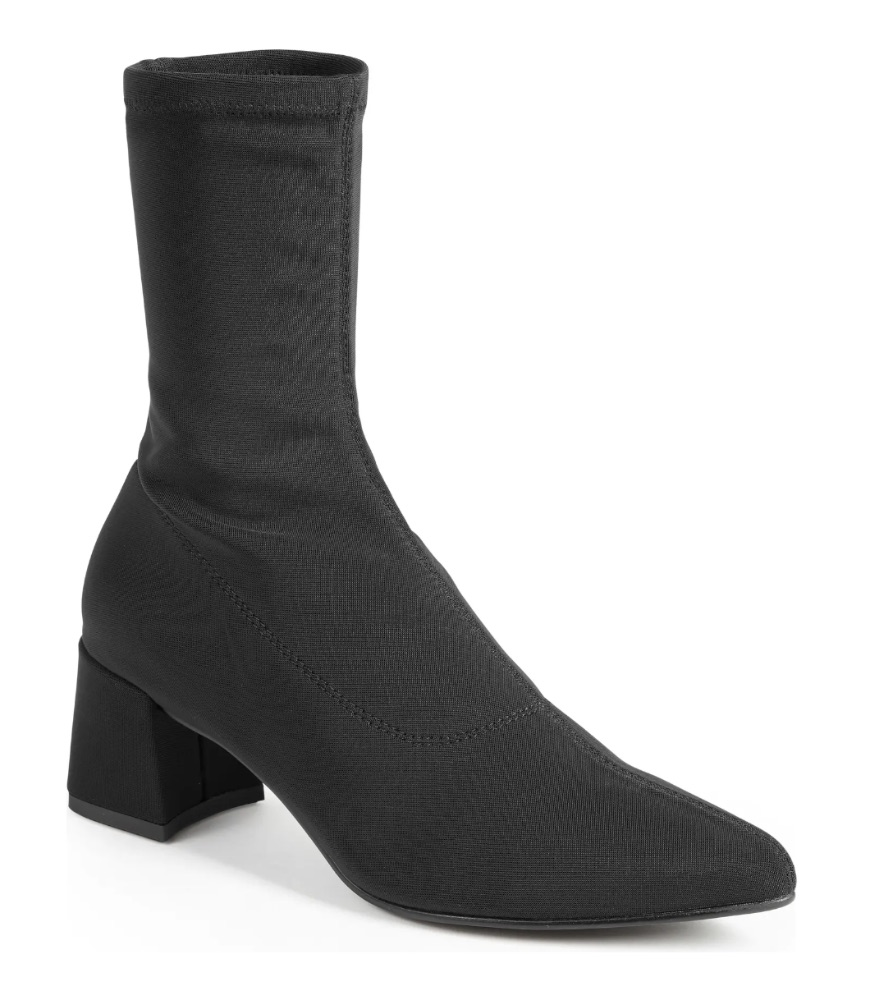 """SIZE INFO Whole sizes only; for 1/2 sizes, order next size up. DETAILS & CARE A stretchy shaft delivers a perfectly customized fit in this minimalist sock-like boot featuring a pointy toe and wrapped block heel. 1 34/"""" heel 8 3/4"""" shaft Pull-on style Textile upper/leather lining/synthetic sole Imported Women's Shoes Item #6771584 Helpful info: How to Measure Boots Free Shipping & Returns See more GIFT OPTIONS Get free gift wrap when you pick up your order at a Nordstrom store! Choose gift options when you check out. Some items may not be eligible for certain gift wrap options. Pickup & In-Store Gift message (free) DIY gift kit (free) Packaged in a Nordstrom box (free) Wrapped with signature gift wrap (free) Delivery Gift message (free) DIY gift kit ($2) Packaged in a Nordstrom box ($3) Looking for gifts for everyone on your list? We've got you covered. Shop Gifts Alva Bootie Vagabond"""
