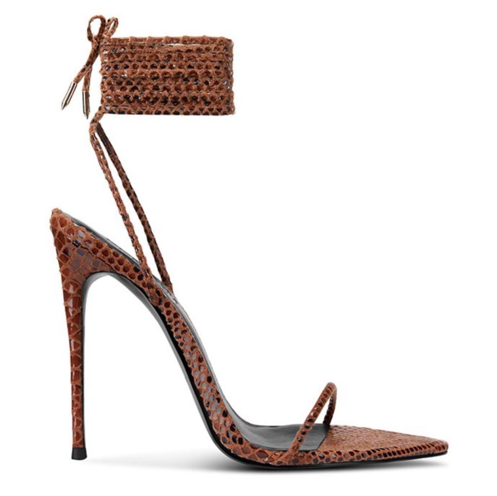 Femme LA, ankle-wrap sandals, brown sandals, strappy sandals, stiletto sandals, heels, snake, python