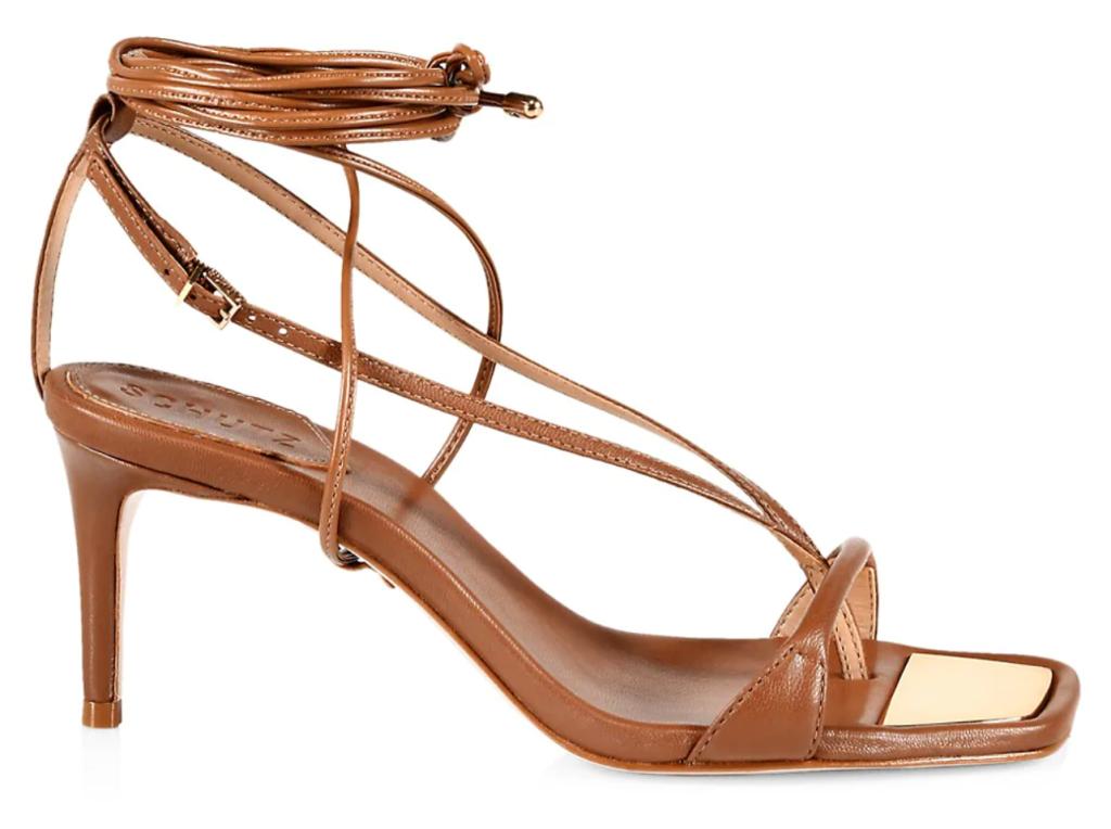 Schutz, sandals, ankle-wrap sandals, brown sandals, heeled sandals, strappy sandals