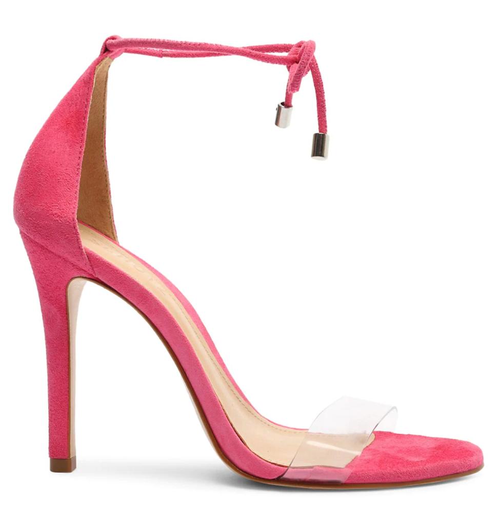 Schutz, pink sandals, pink heels, ankle-tie sandals stiletto heels
