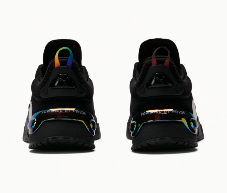 Puma FUSE X OUT sneaker heels rainbow, national coming out day