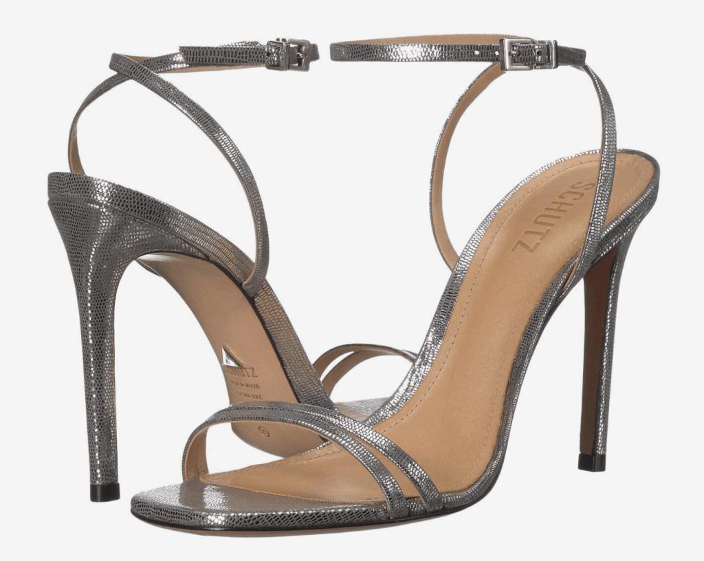 silver sandals, heels, schutz