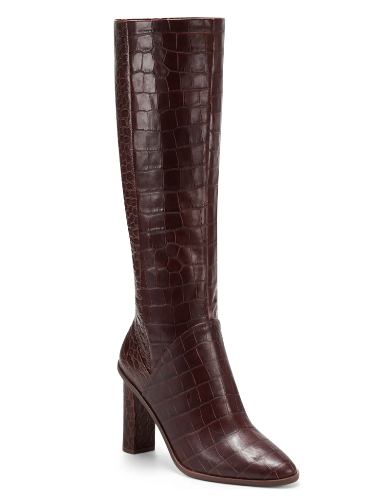 burgundy boots, knee high, vince camuto