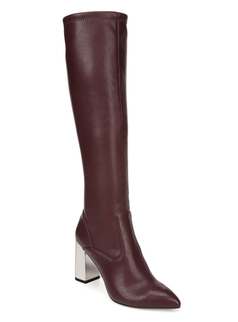 burgundy boots, knee high, franco sarto