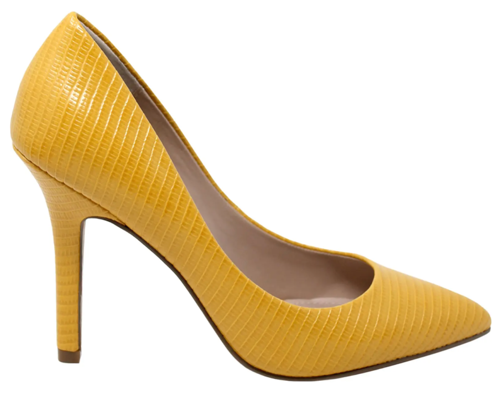 Charles by Charles David, yellow pumps, pointed-toe pumps, stiletto pumps, embossed pumps, heels