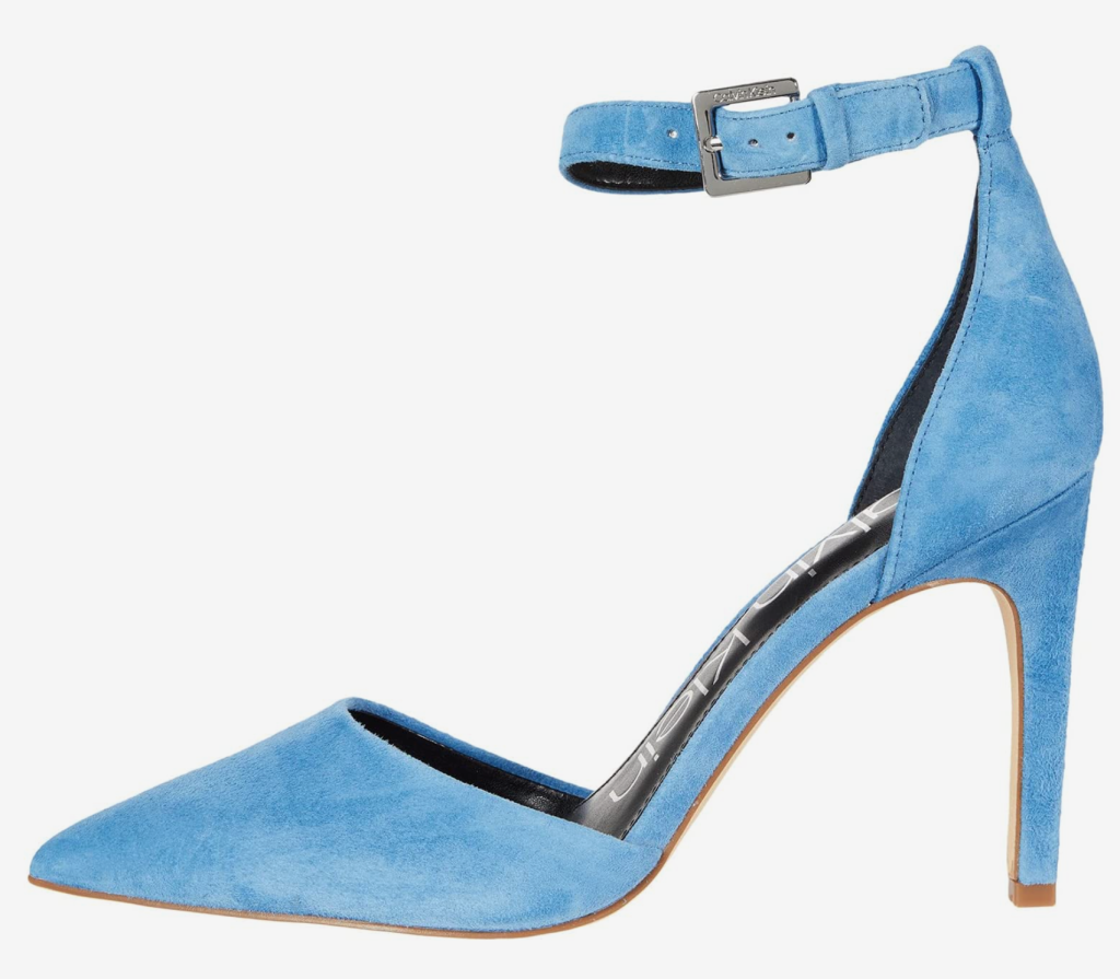 Calvin Klein, Blue Pumps, Pointed Toe Pumps, Suede Pumps, Ankle Strap Pumps, Stiletto Heel Pumps